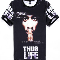 Black Emoji Hip Hop Artist 2pac Print Short Sleeve Graphic T-shirt