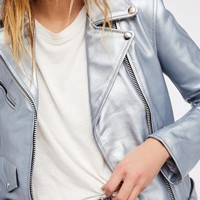 Free People Easy Rider Liquid Mercury Leather Jacket