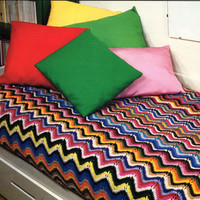Fantastic Chevron Afghan or Couch Cover Pattern, Vintage 1970's - Instant Download