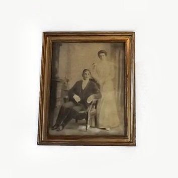 Antique Large Siblings Portrait, Charcoal Drawing, Gilt Gesso Wood Frame, Victorian Home Decor