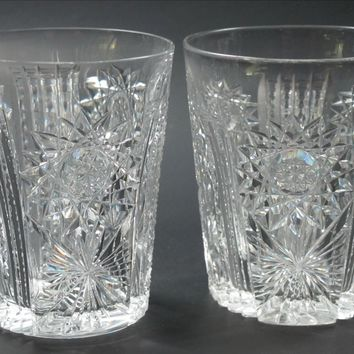 ABP tumbler American Brilliant Period hand Cut Glass blown  whiskey