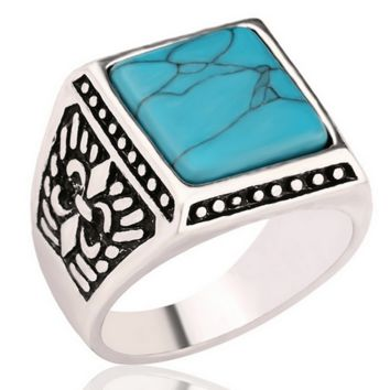 Men Antique Silver Ring Jewelry Vintage Tibet Female Enamel Ring Bijoux Hommes Retro Square Blue Turquoise Male Ring