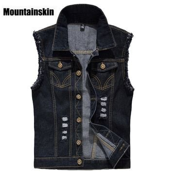 Trendy Denim Vest Mens Jackets Sleeveless Fashion Washed Jeans Waistcoat Mens Tank Top Cowboy Male Ripped Jacket Plus Size 6XL EDA359 AT_94_13