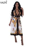 VAZN New Women Sexy Fashion Elegant 2018 Women Retro Print Dress Deep V-Neck Half Sleeve Autumn Special Lady Midi Dress 6090