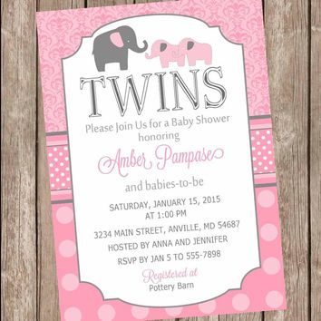 Pink Twin Girl Baby Shower Invitation, twin girl, elephants, twins, pink, gray, damask baby shower invitation, polka dots, baby girl invite