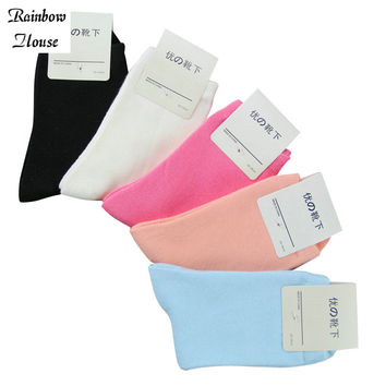 New 2017 Fashion Woman Socks Candy Color In Tube Cotton Female Socks All-Match Casual Cute Warm Socks For Women 5pairs/lot