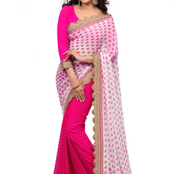 Pretty and Beautiful in Pink Exclusive Designer Saree D-203