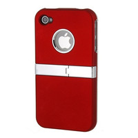 Iron-stand Protective Case Cover Shell for iPhone 4 /4S(Red)