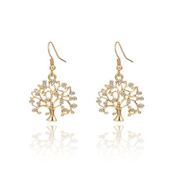 Dangle Earring for Women,Celtic Tree of Life Drop Earring Rhinestone Earring Hoop Earring with CZ Crystal