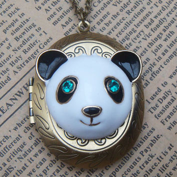 Steampunk Panda Locket Necklace Vintage Style by sallydesign