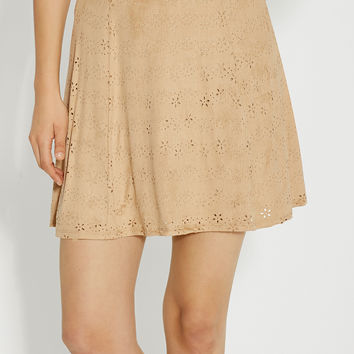 faux suede skirt with laser cut design