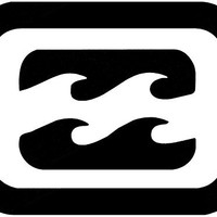 Billabong Wave Square Sticker Decal White Sticker 6''width By 4.5'' Height