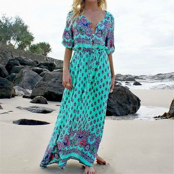 Bohemian Beach Style Summer Maxi Dress (Available in Plus Size)