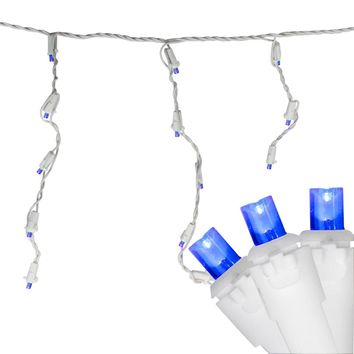 Set of 100 Blue LED Wide Angle Icicle Christmas Lights White Wire