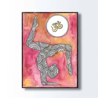 Golden Om Symbol, Paisley Zentangle Painting, Yoga Asana Silhouette, Yoga studio Decor, Original Watercolor painting, Om Aum Energy Painting