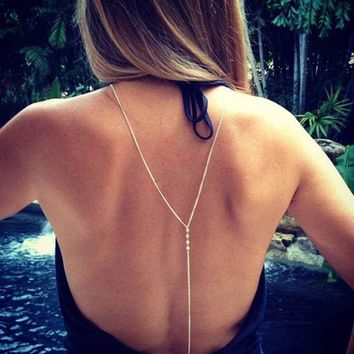 ac DCCKO2Q FAMSHIN Fashion Summer Crystal Necklace Back Body Chain Silver Body Chain For Women Sexy necklace
