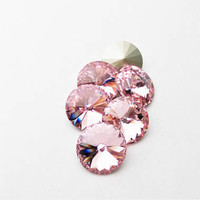 Six Light Rose 1122 12mm Foiled Swarovski Pointed Back Rivoli DKSJewelrydesigns