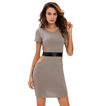 Chicloth Gray Faux Leather Strap Cut Out Dress
