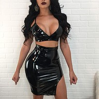 """Wet dreams"" latex leather style 2 piece crop top skirt set"