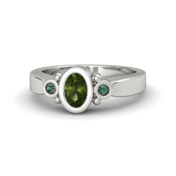 Oval Green Tourmaline 14K White Gold Ring with Alexandrite