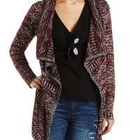 Marled Geo Cascade Cardigan Sweater by Charlotte Russe - Burgundy Cmb
