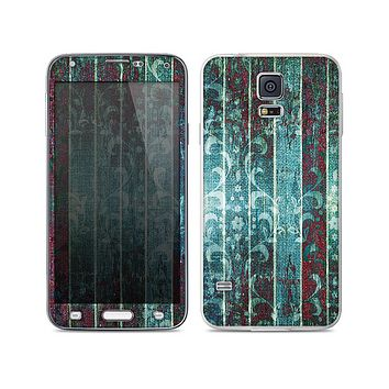 The Aged Blue Victorian Striped Wall Skin For the Samsung Galaxy S5