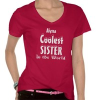 Coolest SISTER with Snow Lettering in Red - Choose Color, Style.  Add Name! Customizable.