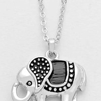 Tribal Elephant Pendant Necklace - Silver