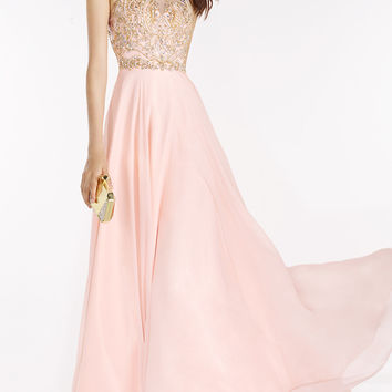 Chiffon Classic High Neck Long Prom Dress by Alyce
