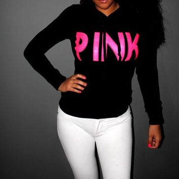"""""""Victoria's Secret """"LOVE PINK Women's Fashion Letter Print Hooded Long-sleeves Pullover Tops Sweater"""