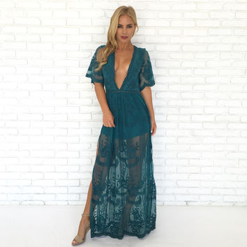 Wine & Dine Embroidered Maxi Dress in Teal