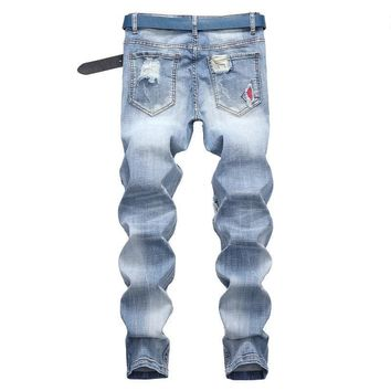 Stretch Pants Ripped Holes Fashion Jeans [1567946276957]