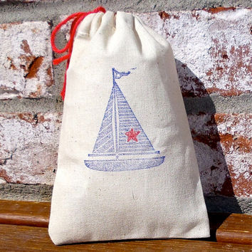 Sailboat Hand Stamped Cotton Muslin 4x6 Favor Bag - great Beach Weddings and Nautical themed parties, Boy's Birthdays, Baby Showers