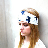 Turban Headband, Elephant, White, Navy Blue