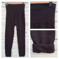 A High Waisted Fleece Lined Leggings in Chocolate