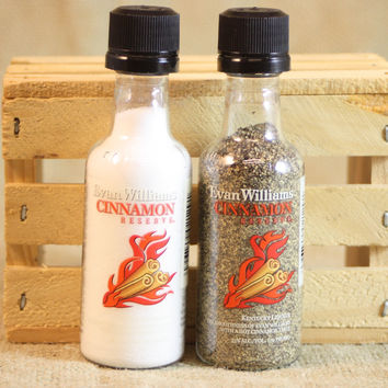 Salt & Pepper Shakers Upcycled from Evan Williams Cinnamon Reserve Mini Liquor Bottles, Mini Liquor Bottle Shaker Set