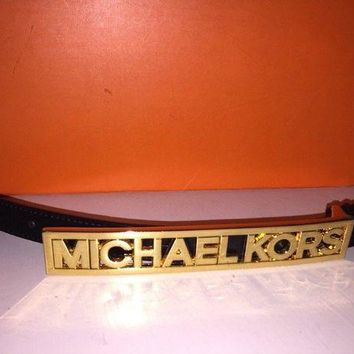 DCCK8TS NEW! Michael Kors Skinny Belt Black W/ Goldtone MK Buckle Size 32 S