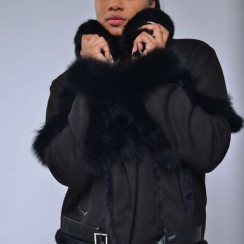 TOP TRENDY SHEARLING  WITH FOX FUR JACKET women