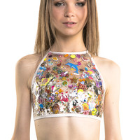 Plastic Sticker Decal Halter Top- LAST ONE