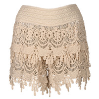 Must Have Cotton Crochet Layered Fringe Tan Shorts