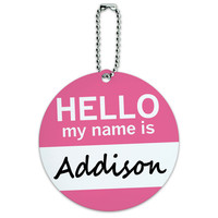 Addison Hello My Name Is Round ID Card Luggage Tag