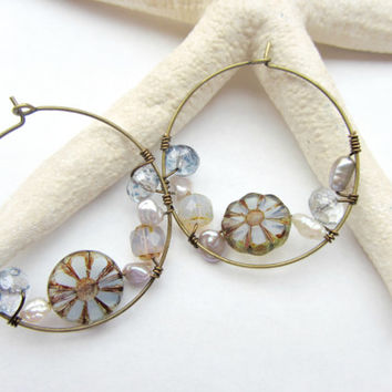 Blue Beaded Pearl Wire-Wrapped Hoops 47f3972411
