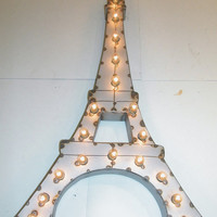 Vintage Industrial Paris Eiffel Tower Metal Art Light Sculpture