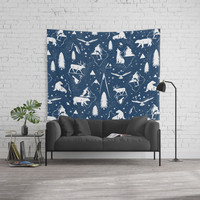 Arctic Circle - Blue Wall Tapestry by heatherduttonhangtightstudio
