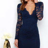 Lady in Charge Navy Blue Lace Midi Dress