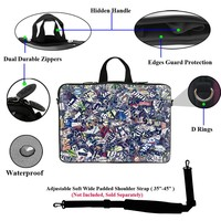 Neoprene Laptop Carrying Case Sleeve Bag w. Hidden Handle & Eyelet (D-Ring) for 17 17.3 Inch Notebook - News Clip Design