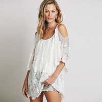 Off Shoulder Angel Sleeve Floral Lace Cover-Up