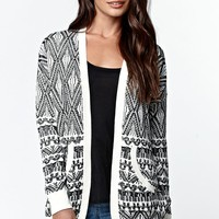 LA Hearts Drop Shoulder Marled Cardigan - Womens Sweater - White