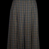 Womens light tweed skirt by Daks Signature - Lined wool pleated check skirt - Ladies UK Size 18 - Side zip and button fastening