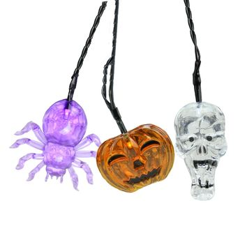 Set of 90 Battery Operated Skull  Spider and Jack-o-Lantern LED Halloween Lights - Black Wire